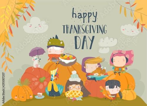 Cartoon children celebrating Thanksgiving Day with animals