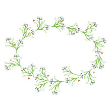 Green Oval Wreath With Blade Of Grass And Orange Berries