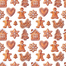 Christmas Watercolor Seamless Pattern Traditional With Gingerbreads Bird, Small House, Girl, Boy, Snowflake, Heart, Christmas Tree. Watercolor Illustration Isolated  On White Background.