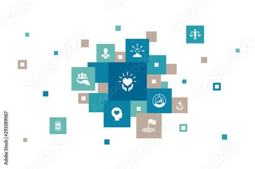 Carta da parati  CSR Infographic 10 steps pixel design