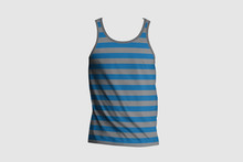 3d Illustrator Mans Blank Tank Singlet. Male Shirt Without Sleeves. T-shirt Front Of Mock Up