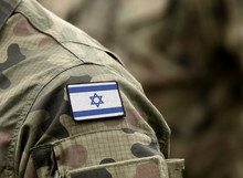 Flag Of Israel On Military Uniform. (collage).