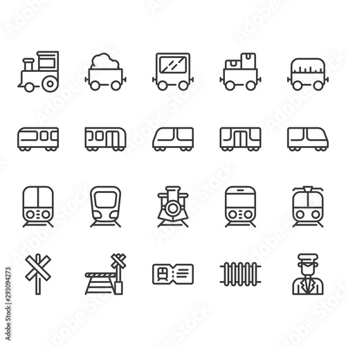 Valokuva  Train stations related icon set