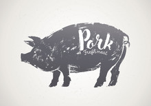 Pig Silhouette Illustration In Graphic Style, Pork Label.