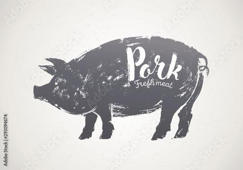 Obraz na plátne Pig silhouette illustration in graphic style, pork label.