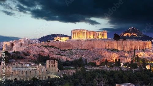 Pinturas sobre lienzo  Time lapse  of Athens - Acropolis at sunset, Greece