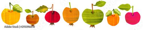 Apple Set. Food Illustration with Acrylic Texture. - 293096078
