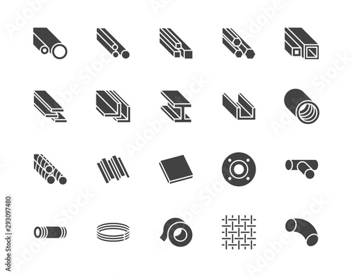 Foto Stainless steel flat glyph icons set