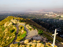 On Top Of The Rubidoux Mountain With The Summit Cross And American Flag In Riverside, California, USA