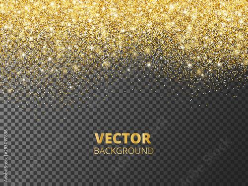 Fototapeta Sparkling glitter border, frame. Falling golden dust isolated on transparent background. Vector decoration. obraz