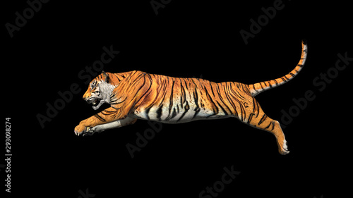 Valokuva Bengal tiger jump in the air pose with 3d rendering include work path for alpha