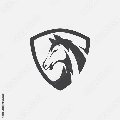 Fototapeta horse icon vector, horse head logo design, horse shield design illustration obraz