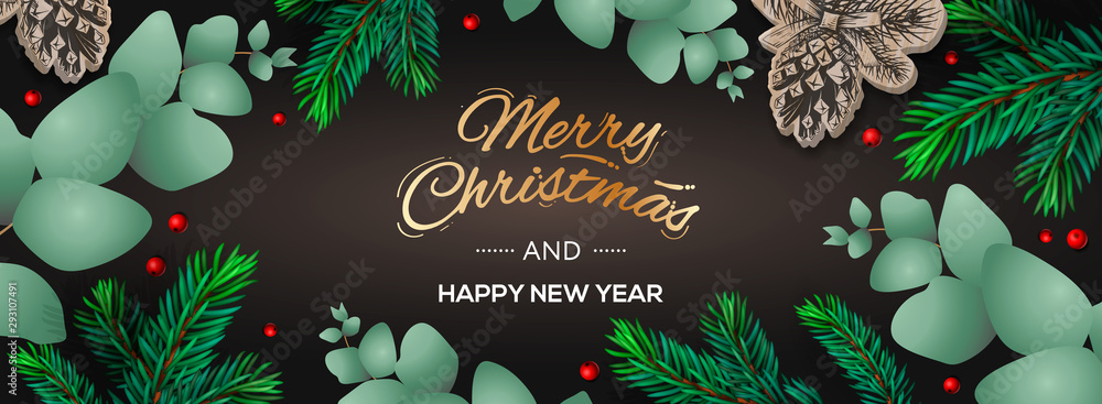 Fototapeta Merry Christmas and Happy New Year horizontal poster. Holiday template with branches eucalyptus, spruce branches and berries on dark background. Winter background, vector illustration.