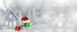 Leinwandbild Motiv Christmas card with house in snow