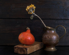 Autumn Still Life With Flower And Vegetables. Sunflower
