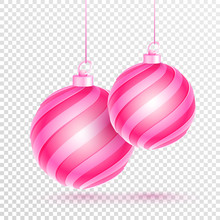 Hanging Pink Baubles Decorated On Png Background.
