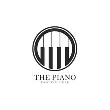 Piano Logo Template Vector Icon Illustration Design