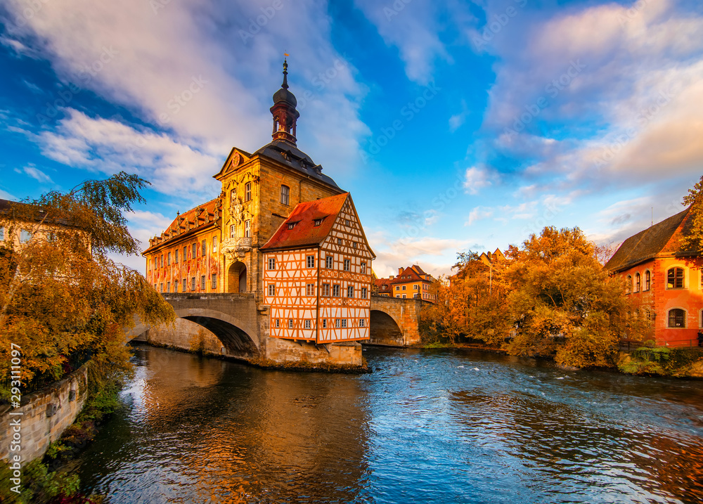 Fototapety, obrazy: Autumn scenery with Old Town Hall of Bamberg, Germany. UNESCO World Heritage Site.
