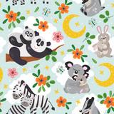 Fototapeta Fototapety na ścianę do pokoju dziecięcego - seamless pattern with cute animals mother and baby on blue background - vector illustration, eps