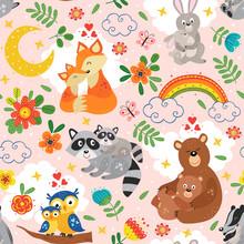 Seamless Pattern With Cute Ani...