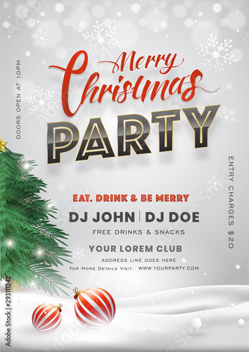 Fototapeta Merry Christmas Party Invitation Card Design With Xmas Tree Baubles And Event Details On Snowy Background