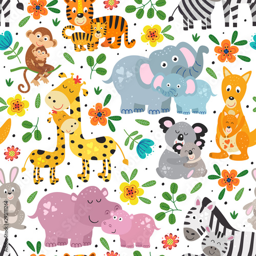 mata magnetyczna seamless pattern with cute animals mother and baby on white background- vector illustration, eps