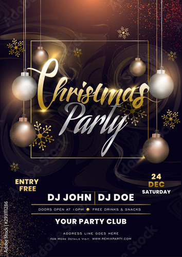 Fototapeta Christmas Party Invitation Card Design With Hanging Baubles And Snowflakes Decorated On Abstract Background With Event Details