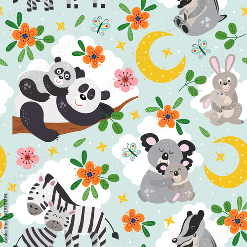 fototapeta na szkło seamless pattern with cute animals mother and baby on blue background - vector illustration, eps