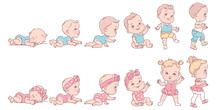 Baby Girl And Boy In Row. Set Of Child Health And Development Icons In Line.