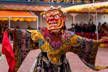 Monk Performing A Ritual Dance In Takthok Monastery, Ladakh