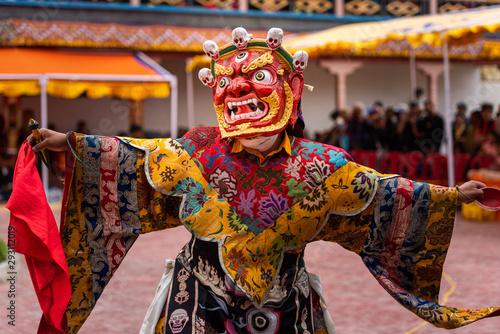 Obraz na plátně Monk performing a ritual dance in Takthok monastery, Ladakh