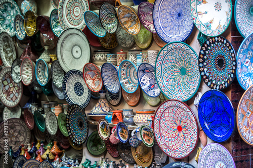 Moroccan ceramics on the market in medina of Marrakech.