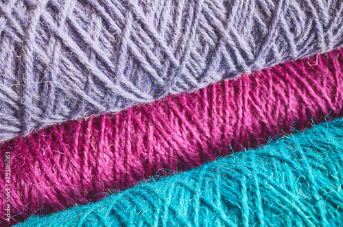 Fotografía  Abstract background made of colorful worsted, shallow depth of field