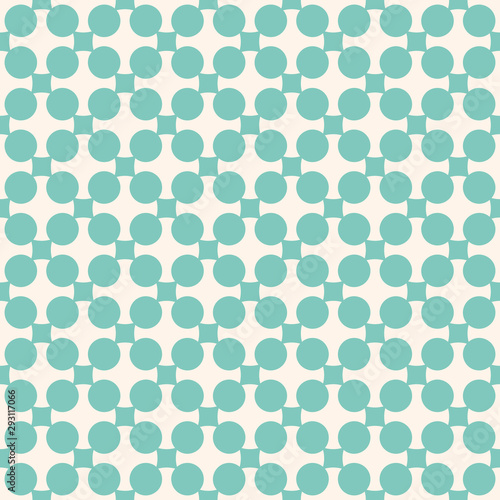 Vintage abstract geometric vector seamless pattern. Turquoise and beige colors