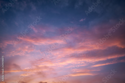 cloudscape at dusk with red clouds Canvas Print