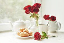 Red Roses, Tea And Croissants ...