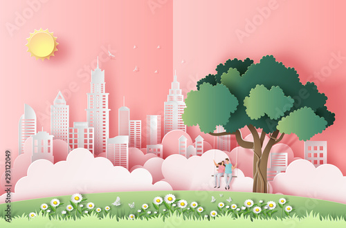 Fototapeta do sypialni   cute-couple-sitting-on-a-swing-under-a-tree-in-a-big-city-pop-up-card-paper-art-style-flat-style-vector-illustration