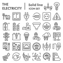 Electricity Line Icon Set, Pow...