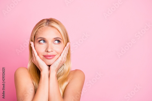 Obraz Closeup photo of amazing lady dreamer looking up empty space making birthday wish wear white tank-top isolated on pink color background - fototapety do salonu