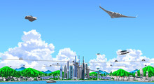 Futuristic Houses, Buildings And Factories Of Thunderheads Seen From The Horizontal, In 3d Rendering