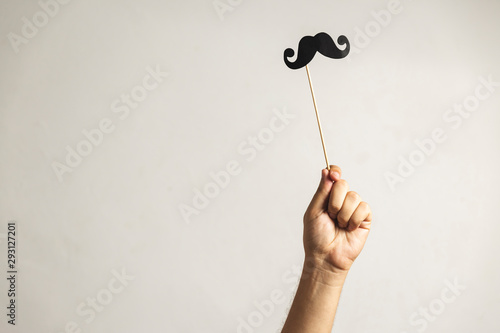 Hand holding Photo booth props, Black Mustache and rising it upHand holding Phot Canvas Print
