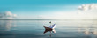 canvas print picture - Great XXL Paper Boat Panorama