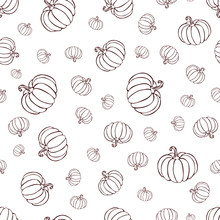 Pumpkin Or Squash Pattern Black Line Art On White Background. Pumpkin Pattern. Vintage Hand Drawn Pumpkin Sketch. Outline Vegetables Pattern For Background, Halloween Or Thanksgiving Banner Or Poster