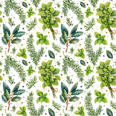Fototapeta Przyprawy Watercolor rosemary, basil, bay leaf. Herbs. Watercolor botanical hand drawn illustration. Watercolor plants. Seamless pattern