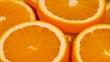 Marco shot of orange fruit and rotate.Close up flesh citrus orange. Nature background.