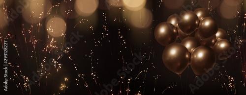 Celebratory bokeh background with golden balloons