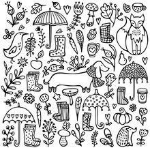 Autumn Doodle Black And White Background. Umbrellas, Rubber Boots, Fox, Dog, Hedgehog, Bird, Leaves, Mushrooms And Other Floral Elements. Hand Drawn Vector Illustration.