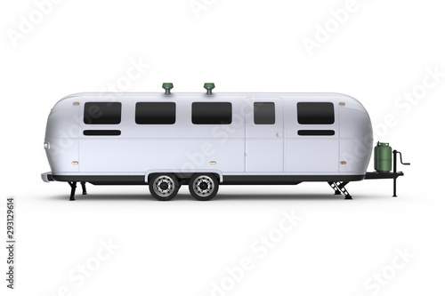 Generic Airstream caravan street food trailer isolated 3D Illustration - right side Canvas Print