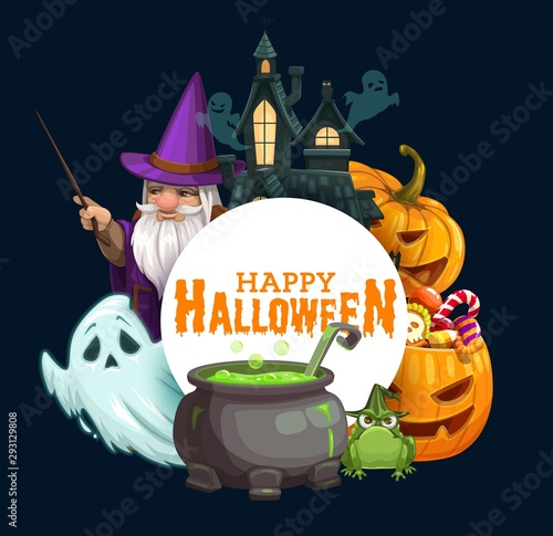 Halloween pumpkins with candies, ghosts, wizard - 293129808