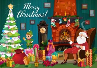 Santa, Christmas elf and Xmas gifts near fireplace